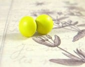 Neon Pearl Studs / Lemon Yellow Post Earrings, Neon Yellow Earrings, Fluorescent Yellow Jewelry