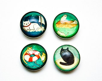 SWIMMING gifts: nautical CATS, oops cat magnet set, funny cat gifts by boygirlparty susie ghahremani, etsy cat gifts, grumpy cat