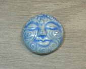 Large Spiral Face Ceramic Cabochon Stone in Castile Blue