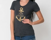Stay the Course Nautical Anchor Tee - Womens Hand Stenciled Crew Neck Graphic T-Shirt in Heather Black - S M L XL