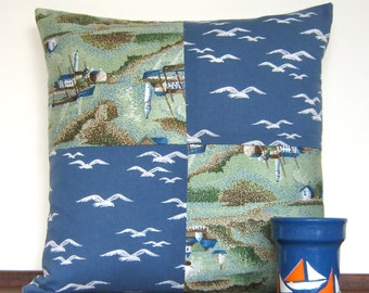 Nautical Vintage 1950's Fabric Cushion Cover - Seagulls,  Boats and Lighthouses