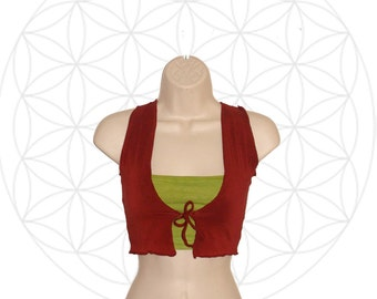 Organic Clothing - Tie Front Vest and Bandeau Set - Organic Cotton/hemp  and Bamboo  -  Custom made and dyed to order