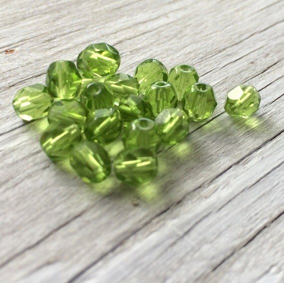 Czech glass round faceted firepolish beads olivine green 6mm 20