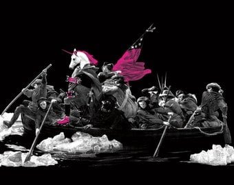 Print: Unicorn on Roller Skates Crossing the Delaware