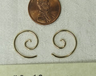 18 gauge,14k gold fill, Spiral earrings, 2's, one pair. free shipping