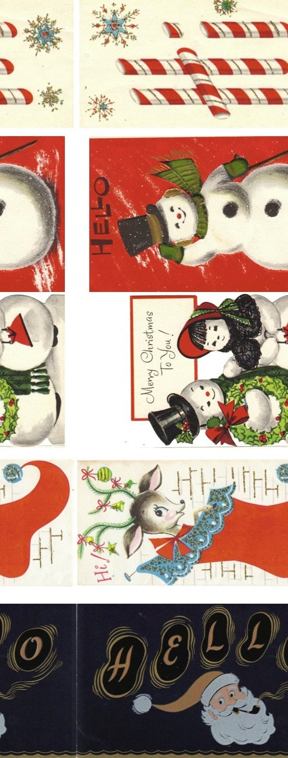 Downloadable Christmas Gift Tag Art from Vintage Cards PDF File