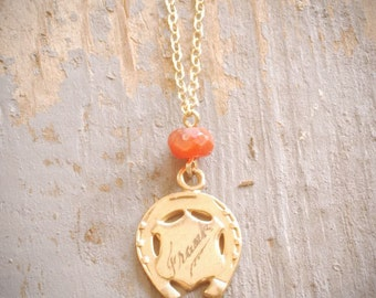"""vintage solid gold horseshoe and shield necklace personalized with""""frank"""" on gold filled chain and carnelian stone bead ooak by val b."""
