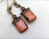 Bohemian Dusty Rose Earrings, Window Glass Dark Brown Swarovski Crystal, Petite Dangle, Bridesmaid Earrings Wedding Jewelry Hawaii Jewelry