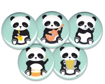 Band of Pandas Pin Set of 5 One Inch Pinback Buttons