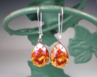 Astral Pink Rhinestone Earrings Swarovski Drop Earrings Pink Orange Coral Wedding Bridesmaid Jewelry MADE TO ORDER