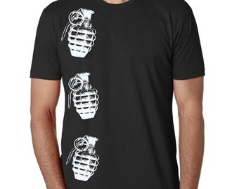 Mens Grenade Tshirt Clothing for Men Unisex Punk Shirts Screen Printed military Gifts Indie Clothes