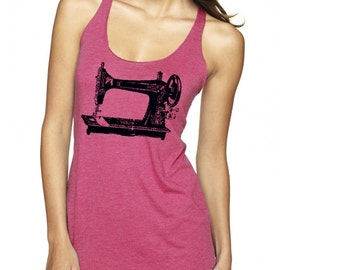 Sewing Machine Tank Top - Womens Clothing Exercise Tops Active shirts for the gym love to sew crafty gifts Pink Tops