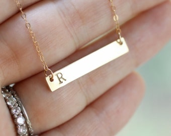Gold Initial Plate Necklace, Bar Necklace, Modern Mothers Necklace, Personalized Gift, Everyday Necklace, Bridesmaid Necklace, 14k gold fill
