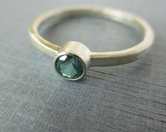 Simple Satin and Green. Green Topaz and Sterling Silver Ring. Unconventional Engagement Ring or Everyday Ring.