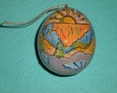"""Hand-Painted Gourd Christmas Ornament by Artist Sandy Short """"Grand Canyon Sunset, Arizona"""" decoration design."""