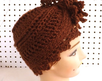 Crochet Hat Womens Hat Trendy, Womens Crochet Hat, Womens Turban Hat, Crochet Flower, Brown Hat, Alejandra Womens Turban Hat, Crochet Hat