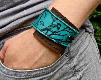 Leather Cuff Women's Bracelet Wrap, Lark Print in Brown & Turquoise * SALE * Coupon Codes