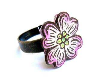Dogwood Flower Ring - Pink and White - Spring Jewelry - Adjustable Ring