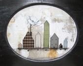 Original Folk Art Painting , Acrylic Landscape Paining ,  Mixed Media Collage Art Painting , Large Whimsical Painting