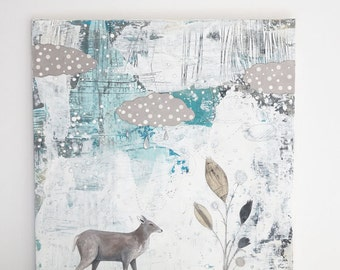 Woodland Animal Art- Original Mixed Media Painting on Canvas and Art for the Bedroom