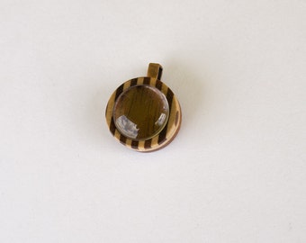 Fine Marquetry Wooodwork Shadow Box Pendant - Mahogany and Maple - 20 mm - Copper Bail - Glass Cab Included