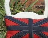 Red, blue union jack pillow