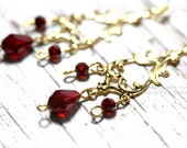 Ruby Red Gold Chandelier Earrings Gold Plated  Swarovski Crystal Siam Bollywood India Indian Bali Style