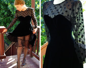 Polka DOTS 1980's 90's Vintage Black Velvet Sweetheart Dress with Sheer Black Dots // size Small // by Karen Lucas for NIKI