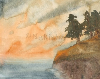 Forest by the Sea - Original Watercolor Landscape Painting - Imaginary Landscape