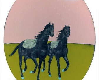 Horses - original art painting on oval wood panel