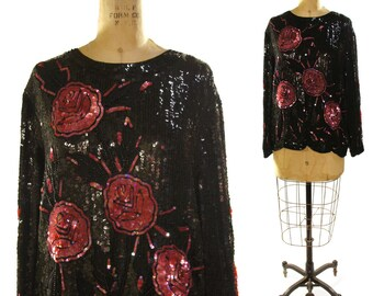 80s GLAM Silk Sequin Blouse / Black & Red