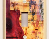 """Light Switch Plate """"Red Guitar Dream"""" Original Musical Art in Deep Colors of Red, Brown and Gold"""