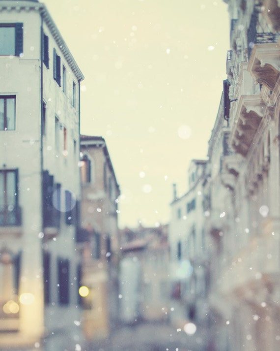Venice Photography, Venice Wall Art, Travel Italy Art Print, Winter Snow, Romantic Fine Art Photography, Wall Decor Large Print - Sotto Voce