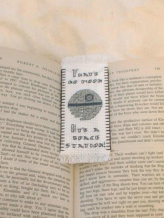 That's No Moon (Death Star) - paperback (small) cross stitch bookmark pattern