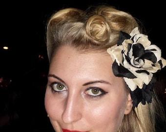 Black and Tan Rose Hair Clip, Pin Up Hair Flower, Rockabilly Rose Clip