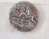 Vintage Picture Button Equestrian Horse Steeplechase