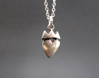 Sterling Crown Heart Necklace - Silver Princess Pendant