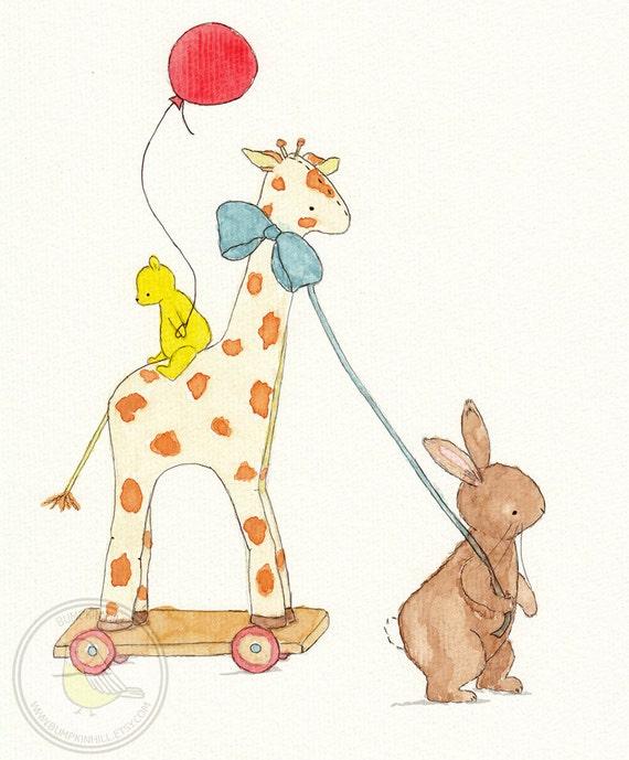 Children's Wall Art Print - The Giraffe Ride -  Nursery Room Decor