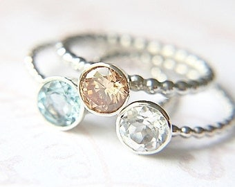 Aquamarine, White Topaz and CZ Stacking Rings - Recycled Silver - Multistone Ring - Lovely Spring Colors