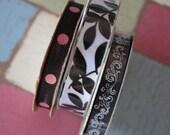 3 Piece Lot of Spool Ribbon - Black White & Pink Patterns