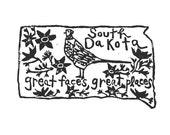"South Dakota state linoleum block print with text + state bird and flower - 9""x12"" wall art"