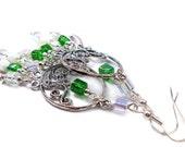 Gypsy Cubes Milky Emerald, Chandelier Earrings, Plus Size Jewelry