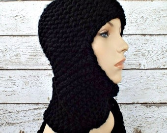 Black Knit Hat Black Womens Hat - Black Ear Flap Hat Garter Nomad Scarf Hat - Black Hat Black Scarf Womens Accessories Winter Hat