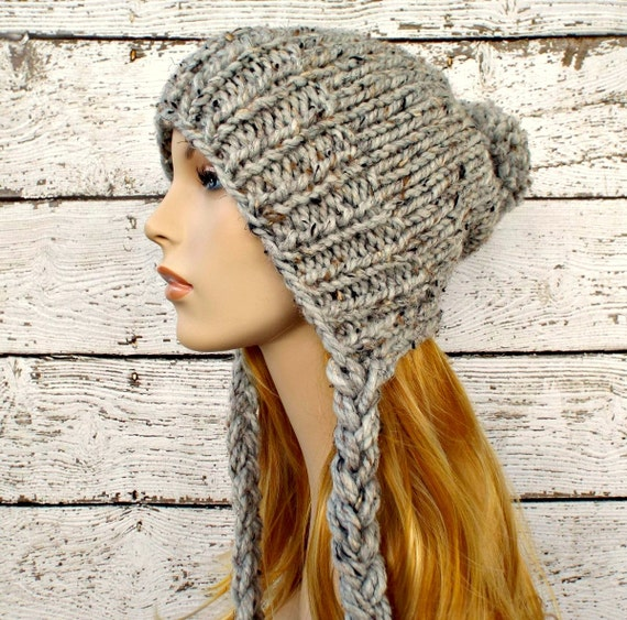 Instant Download Knitting Pattern Slouchy Ear Flap Hat