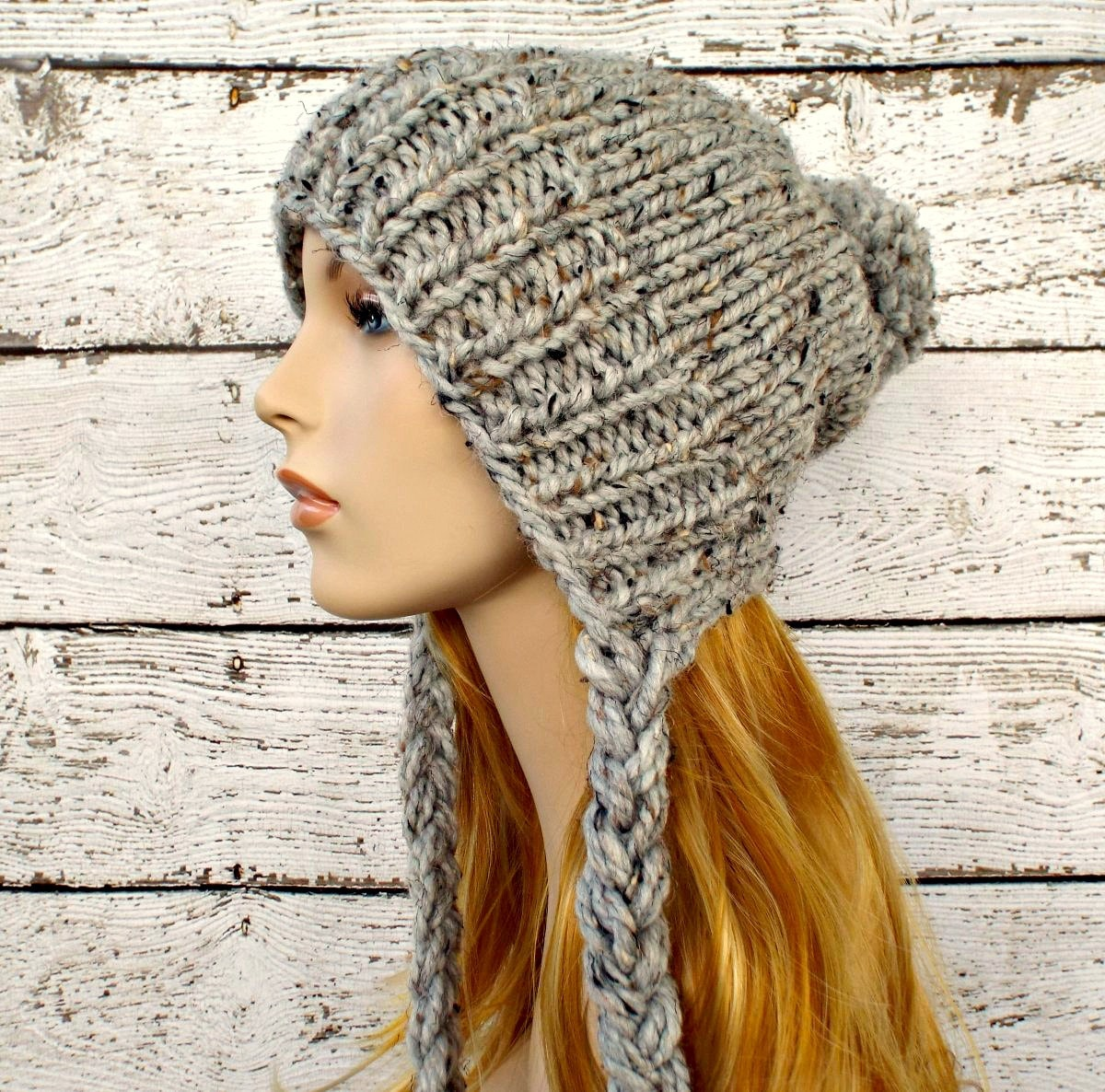 Crochet Womens Hat With Ear Flaps Pattern : Instant Download Knitting Pattern Slouchy Ear Flap Hat