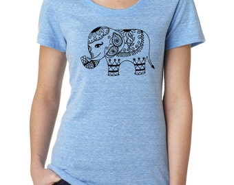 ELEPHANT indian decorated FITTED vintage t shirt scoopneck tee tshirt