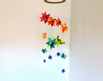Colorful Mobile Hanging Origami Stars -'Lyra' Rainbow