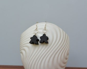 Black mini Carcassonne meeple earrings with silver earwire