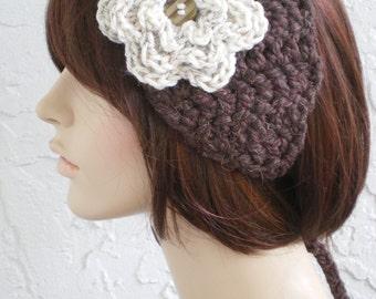 hand crochet Headband  Headwrap Earwarmer ear warmer women headband hair womens accessories  ~ annies chunky head wrap ~ brown wood