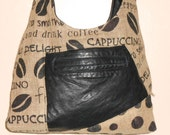Coffee Print Burlap and Leather Shoulder Bag